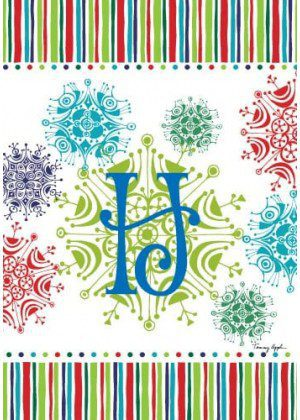 Snowflake Monogram-H Flag | Monogram Flags | Winter Flags | Yard Flags