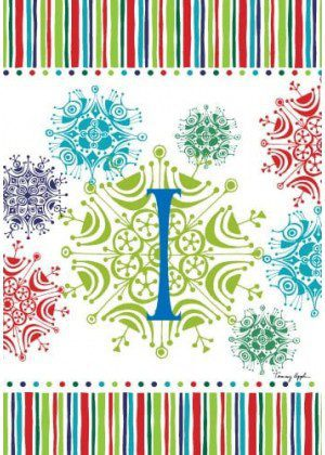 Snowflake Monogram-I Flag | Monogram Flags | Winter Flags | Yard Flags