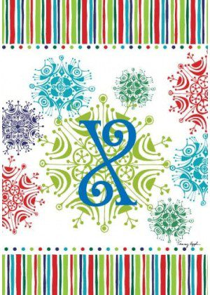 Snowflake Monogram-X Flag | Monogram Flags | Winter Flags | Yard Flags