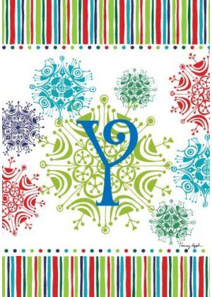 Snowflake Monogram-Y Flag | Monogram Flags | Winter Flags | Yard Flags