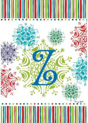 Snowflake Monogram-Z Flag | Monogram Flags | Winter Flags | Yard Flags