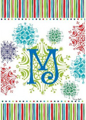 Snowflake Monogram-M Flag | Monogram Flags | Winter Flags | Yard Flag