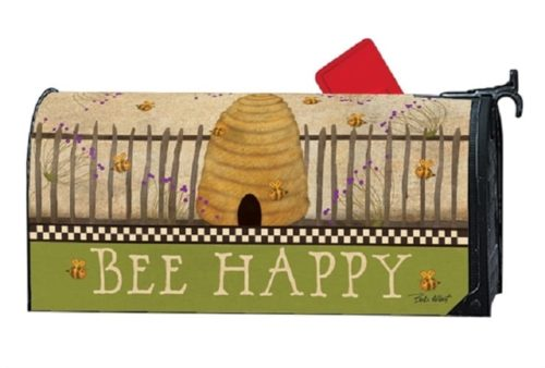 Bee Happy Mailbox Cover | Decorative Mailwraps | Garden House Flags