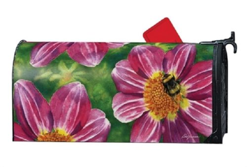 Pink Flower with Bee Mailwraps Mailbox Cover