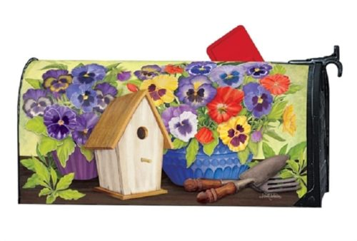 Pretty Pansy and Birdhouse Mailwraps Mailbox Cover