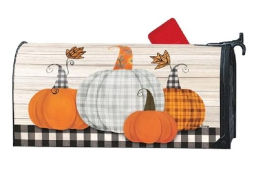 Plaid Pumpkin Mailbox Cover | Decorative Mailwrap | Garden House Flags