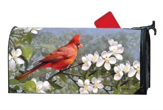 Cardinal In Blossoms Mailbox Cover | Mailwraps | Mailbox Covers