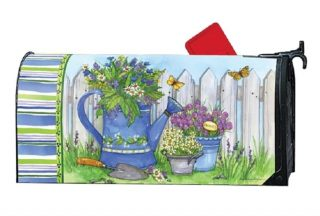 Painted Watering Can Mailbox Cover | Mailwraps | Garden House Flags