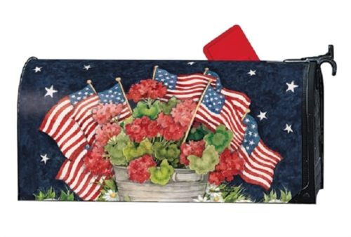 Geraniums With Flags Mailbox Cover | Mailwraps | Garden House Flags
