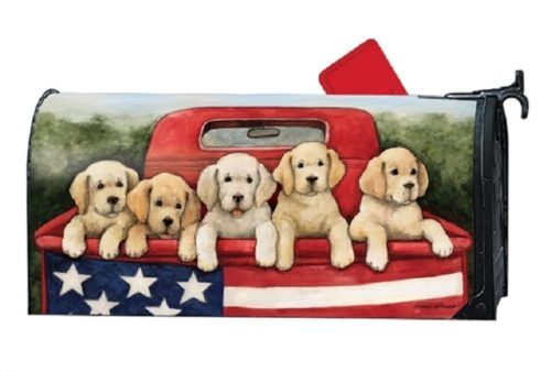 Patriotic Puppies Mailbox Cover | Mailwraps | Garden House Flags