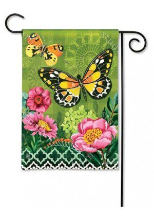 Butterflies with Pink Flowers Garden Flag | Floral Flags | Spring Flags