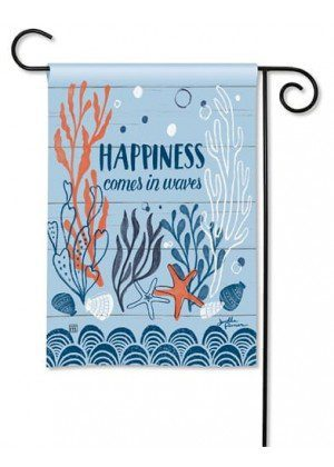 Waves of Happiness Garden Flag | Nautical Flag | Spring Flag | Yard Flags