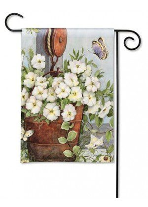 Petunias on Pulley Flag | Decorative Garden Flags | Garden House Flags