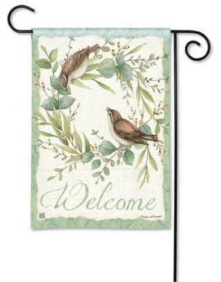 Eucalyptus Wreath Garden Flag | Welcome Flags | Bird Flags | Floral Flags