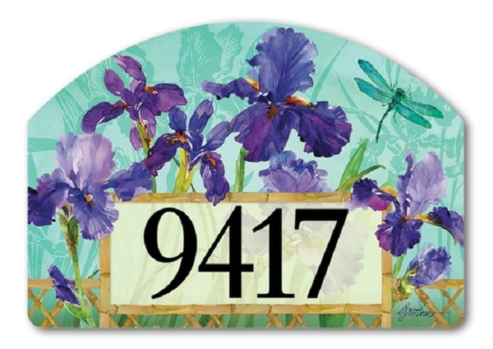 Purple Iris Yard Sign Address Plaques Magnetic Yard Signs
