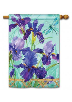 Purple Iris House Flag | Floral Flags | Spring Flags | Yard Flags | Cool Flag