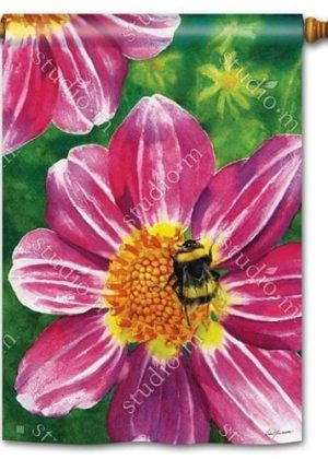 Pink Flower with Bee House Flag | Floral Flags | Spring Flags | Yard Flags