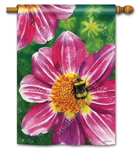 Pink Flower with Bee Flag | Decorative House Flags | Garden House Flags