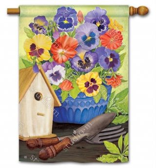 Pretty Pansy and Birdhouse House Flag | Floral Flags | Bird Flags | Flags