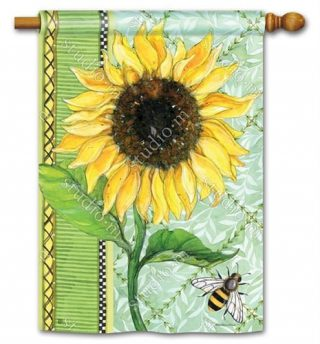 Single Sunflower House Flag | Floral Flags | Spring Flags | Summer Flags