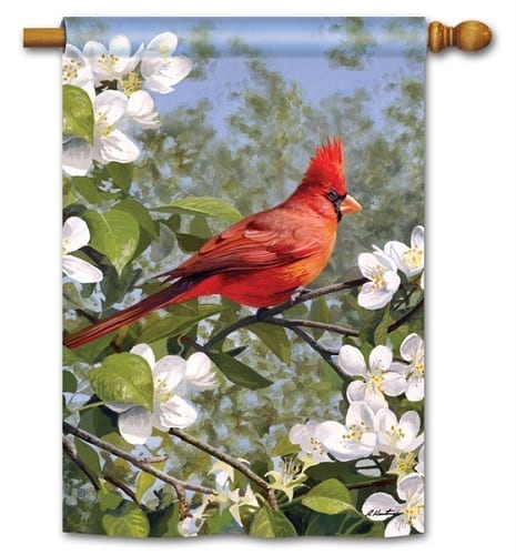 Cardinal in Blossoms Flag | Decorative House Flags | Garden House Flags