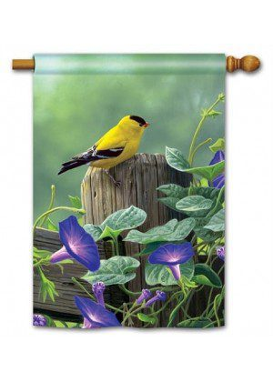 Goldfinch Perch House Flag | Bird Flag | Floral Flag | Yard Flag | Cool Flag