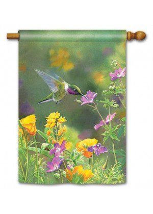 Hummingbird Hover House Flag | Bird Flags | Floral Flags | Yard Flags