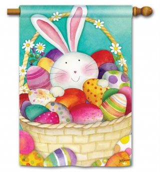 Easter Basket House Flag | Easter Flags | Holiday Flags | Yard Flags | Flag