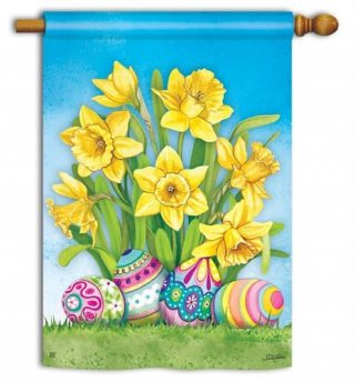 Easter Daffodils House Flag | Easter Flags | Holiday Flags | Yard Flags