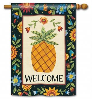 Floral Pineapple House Flag | Floral Flags | Welcome Flags | Yard Flags