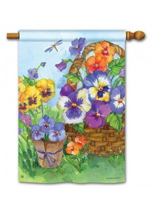 Pansy Lane House Flag | Floral Flags | Spring Flag | Yard Flag | Cool Flag