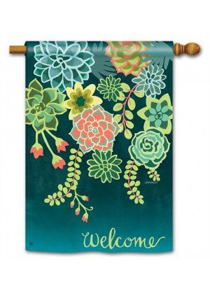 Boho Succulents House Flag | Floral Flags | Welcome Flags | Yard Flags