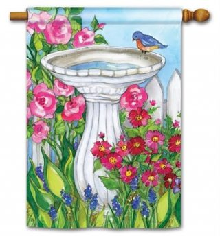 Backyard Birdbath Flag | Decorative Flags | Flags | Garden House Flags
