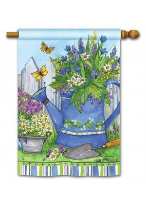 Painted Watering Can House Flag | Floral Flags | Spring Flags | Yard Flags