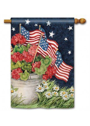 Geraniums With Flags House Flag | Patriotic Flags | Floral Flag | Yard Flag