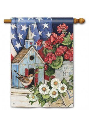 Patriotic Birdhouse House Flag | Patriotic Flags | 4th of July Flags | Flags