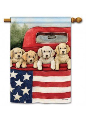 Patriotic Puppies House Flag | Patriotic Flags | 4th of July Flags | Yard Flag