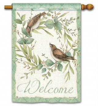 Eucalyptus Wreath House Flag | Welcome Flags | Floral Flags | Bird Flags