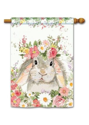 Hello Bunny House Flag | Easter Flags | Spring Flags | Floral Flags