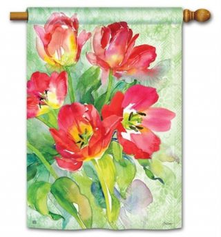 Red Tulips House Flag | Floral Flags | Spring Flags | Yard Flags
