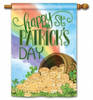 Pot of Gold House Flag | St. Patrick's Day Flags | Yard Flags | Cool Flags