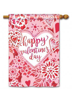 Valentine Lace House Flag | Valentine's Day Flags | Yard Flags | Cool Flag