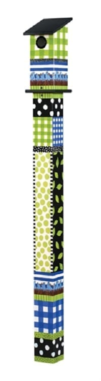 Gingham Birdies - Bluebird Birdhouse Art Poles