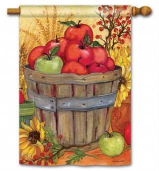 Bushel of Apples House Flag | Fall Flags | Floral Flags | Yard Flags