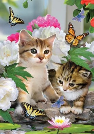 Dreamy Kittens Flag | Spring Flags | Animal Flags | Floral Flags | Cool Flag