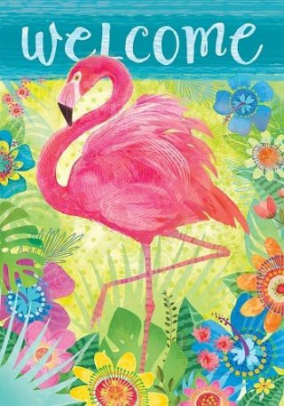 Flamingo Floral Flag | Welcome Flags | Bird Flags | Double Sided Flags