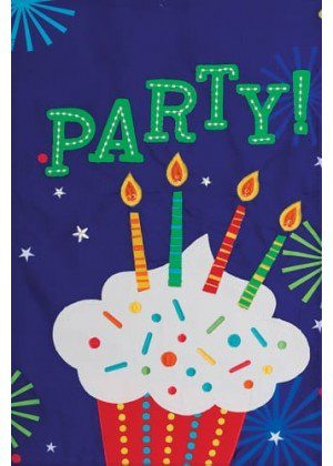 Party Cupcake Flag | Birthday Flags | Applique Flags | Double Sided Flags