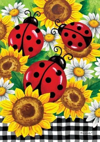 Sunflower Ladybugs Flag | Spring Flags | Floral Flags | Double Sided Flags