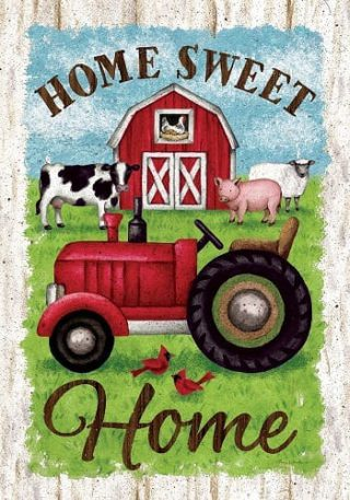 Tractor and Barn Flag | Farmhouse Flags | Two Sided Flags | Spring Flags