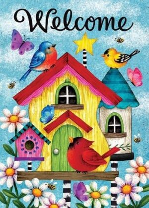 Whimsy Birdhouses Flag | Welcome Flags | Bird Flags | Double Sided Flag